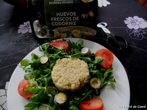 Ensalada de Quinoa con huevos de codorniz